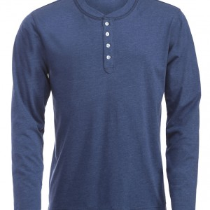 Tee Shirt Homme manches longues col boutons