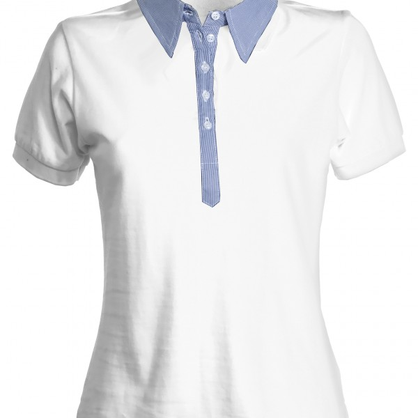 Polo col chemise manches courtes Femme blanc