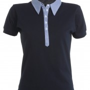 Polo-col-chemise-manches-courtes-Femme-marine