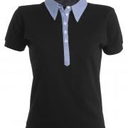 Polo-col-chemise-manches-courtes-Femme-noir-bleu