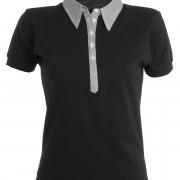 Polo-col-chemise-manches-courtes-Femme-noir-gris
