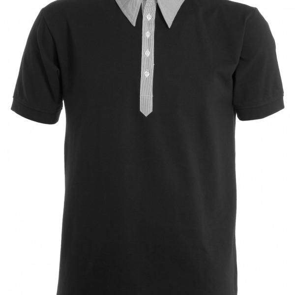 Polo col chemise manches courtes Homme noir gris