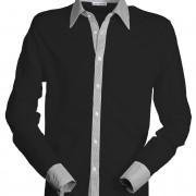 Polo-col-chemise-manches-longues-noir