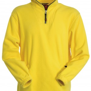 Pull polaire col zippé jaune