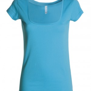 Tee shirt Femme col carré ample turquoise