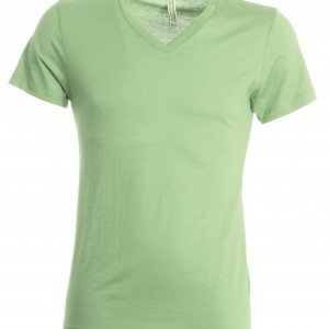 Tee shirt uni col V vert