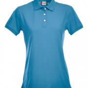 Polo-stretch-femme-turquoise